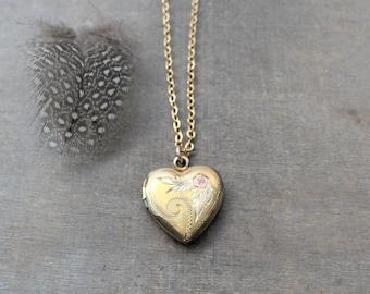 Gold Heart Locket Necklace, Rose Gold Locket, Gold Photo Locket Pendant, Wedding Locket Bridal Locket, Gold Photo Locket, Push Present