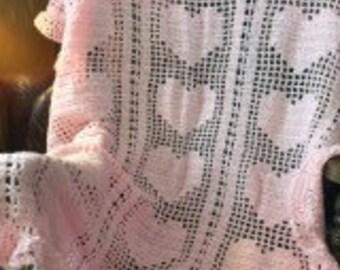 Crochet Baby Blanket - Pink Heart