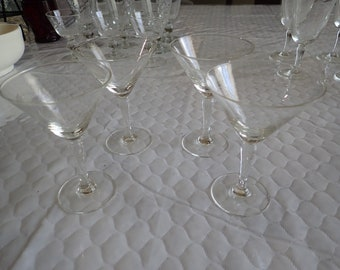 """4 (Four) Radio Brand Fine Glasses Hand Crafted Japan Wine Glasses 4 7/8"""" Wheat Spray Blown Glass"""