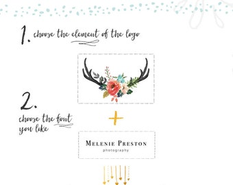 Watercolor Floral Antler Logo Design Deer Logo Custom Logo Design Event Wedding Photography Logo Website Branding Blog Logo Pay As You Go