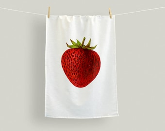 Flour Sack Towel,Country Strawberry Kitchen Towel,Cotton Tea Towel Hostess Gift,Red Kitchen Gift,Red and White Dishcloth,Mothers day gift