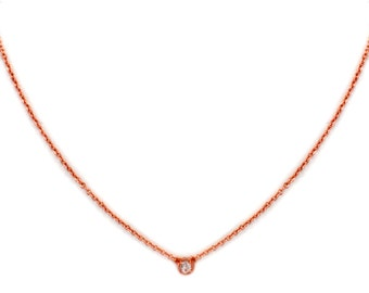 Dainty Gemstone Necklace - Delicate Rose Gold Chain Necklace - White Topaz Necklace - Birthstone - Tiny Gemstone Necklace - Layering