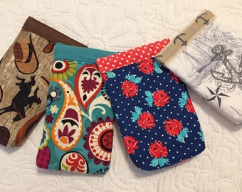 Set of Two Snappy Pouches - choose fabric!