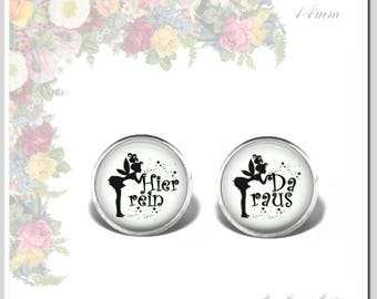 Earrings Glass Cabochon 14 mm Elf in here.... out black on white