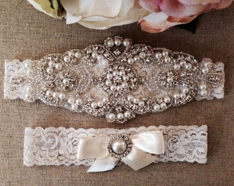 Wedding Garter Set - Rhinestone Bridal Garter - Wedding Garter Belt - Keepsake Garter - Toss Garter - Ivory Pearl Garter - Toss Garter