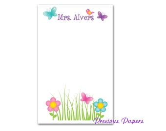 Personalized Butterfly Note pads garden note pads Teacher note pads Personalized teacher gift Personalized teacher garden note pad
