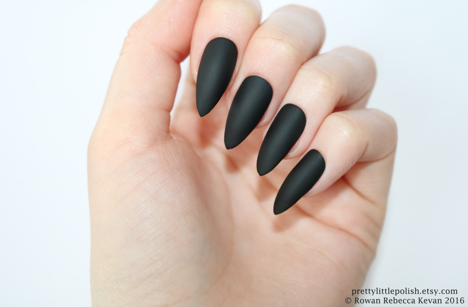 Stiletto nails Matte black stiletto nails Fake nails Press