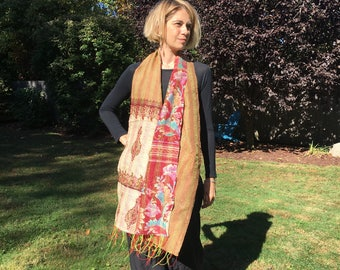 Small Reversible Indian Silk Scarf