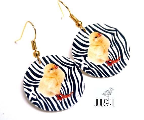Zebra earrings chick print on wood