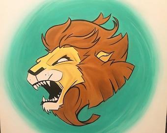 Lion hearted 24x24 acrylic on canvas