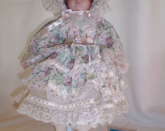 """Porcelain Victorian Style Heirloom Doll by MARIAN YU DESIGNS, 16"""" With Stand"""