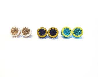 glitter burst earrings, hand-painted resin earrings