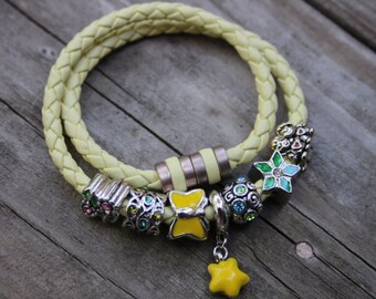 Hand braided light yellow leather bracelet, European style charm, pugster charm, bolo bracelet, yellow bracelet, strong magnetic clasp