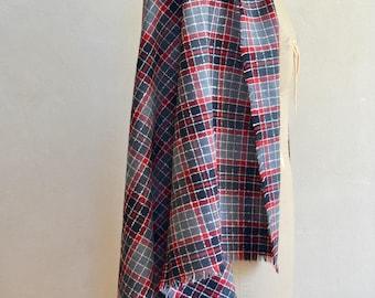 Large Wool Wrap / Shawl / Scarf Lightweight Red Black & Gray Plaid Fabric Long Shape