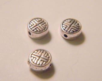 10 Tibetan bead spacer silver 6 mm No. 23