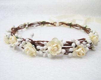 Wedding Floral Crown, Ivory Flower Headband, Floral Head Wreath, Wedding Headband, Bridesmaid Flower Crown, Flower Girls Flower Crown
