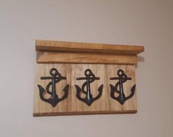 Entryway Coat Rack, Anchor, Key Holder, Entryway Decor, Rustic Nautical Decor, Coat Hook, Wall Mounted Coat Rack, Hooks, anchor decor