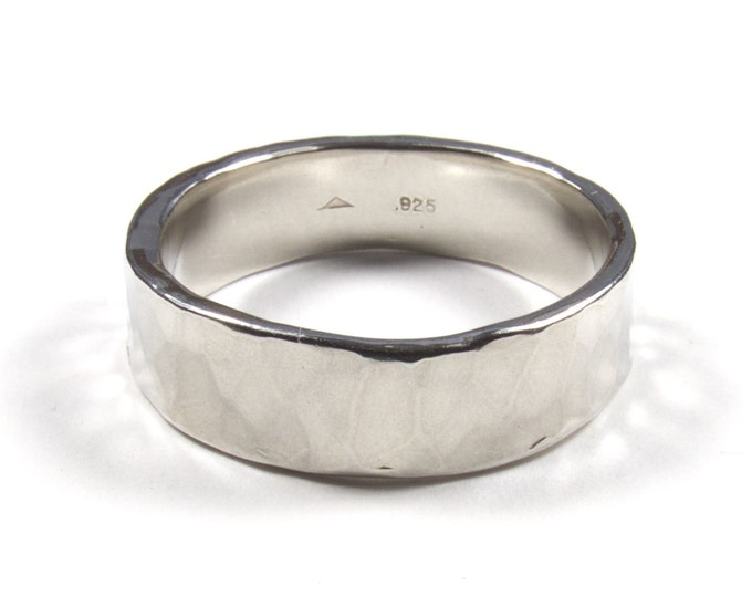 Hand Forged Silver Wedding Ring, Hammered Silver Band, Rustic Wedding Ring, Hand Made Ring, Unisex Wedding Ring, His Ring, Her Ring