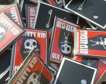 Safety Kid Sticker Club pin