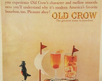 1964 Old Crow Bourbon Vintage Magazine Ad  Ad Print Ads Wall Decor Old Magazine ads