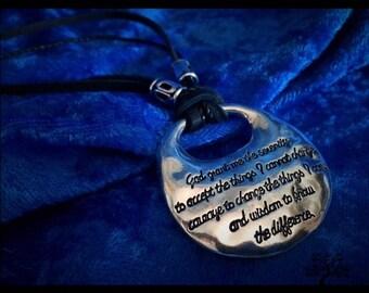 Serenity Prayer Pendant Necklace w/ Metal Beads & Double Cord Lark's Head Knot
