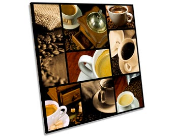 Coffee Kitchen Food Drink CANVAS WALL ART Square Print