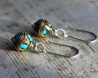 Tibetan Bead Mixed Metal Earrings