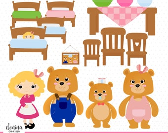 Goldilocks & 3 bears, printable digital clipart set