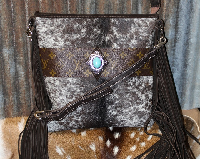 Cowhide Crossbody with Authentic Vintage Louis Vuitton Leather Trim