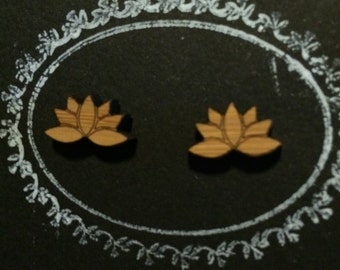 Lasercut Bamboo 'Lotus Flower' Stud Earrings