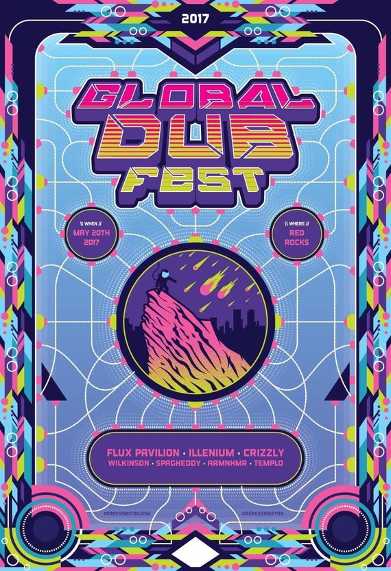Global Dub Fest Poster Illenium Flux Pavilion Crizzly Red Rocks Print