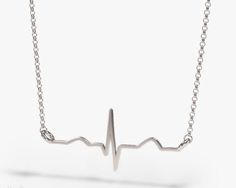 Heartbeat necklace - Sterling silver - Science jewelry