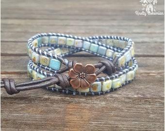 Boho Wrap Bracelet - Green Leather Bracelet - Blue and Green Jewelry - Marbled Wrap Bracelet - Gift for Her - Boho Leather Wrap Bracelet
