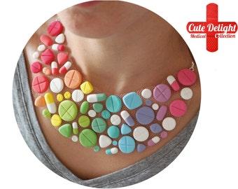 Rainbow Pills Necklace, pills necklace,custom pills neckalce,polymer clay pills, fimo pills, statement necklace, statement pills necklace