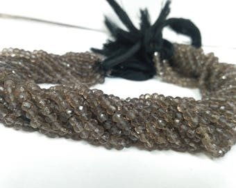 "AAA 100% Natural Smoky Quartz Faceted Rondelle 4-4.5mm Beads 13"" Strands 
