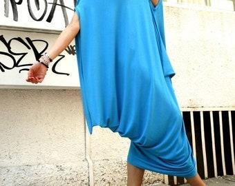 SALE Oversize Aqua Blue Dress / Loose Casual Top / Asymmetric Raglan Sleeveless Tunic  / Maxi Blouse A02074