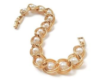 Vintage Bracelet Napier, fausses perles et Bracelet chaîne en métal doré, Double lien chaine texturé