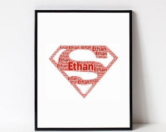 SUPERMAN Print Room Decor - Superhero Wall Art Print - Superman Emblem Poster - Personalized Name Art Typography Print - Boys Bedroom Decor