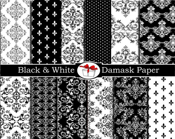 Damask digital paper Damask black and white fabric print Damask scrapbook paper Damask party decorations damask wall decal Damask wallpaper