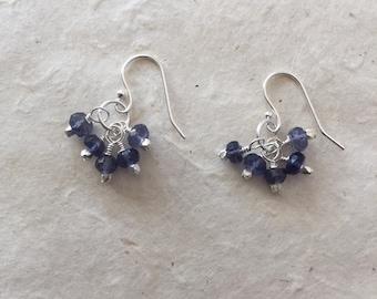Sterling Silver Iolite Cluster Earrings, Sundance Style, Dainty Earrings, Elegant Earrings, Delicate Earrings