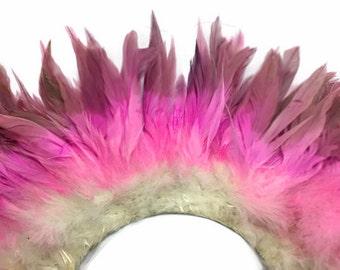 Plumes de coq, bande de 2 pouces - rose Ombre MAGENTA, blanchis et teints enfilées de plumes de coq Schlappen: 4165
