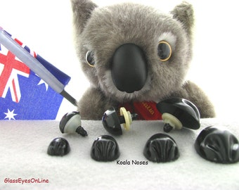 5 Koala Noses With Safety Washers Size 34mm to 44mm For Koala Teddy Bears and Fantasy Characters (KN-1 )