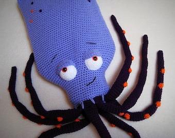 Octopus Hot Water Bottle Cover Cosy Squid Animal Kraken PDF Crochet PATTERN Pillow Pyjama Case