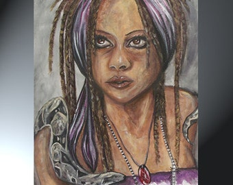 Woman Face Portrait Original Art Painting Size 16 x 20 Woman With Snake Artwork