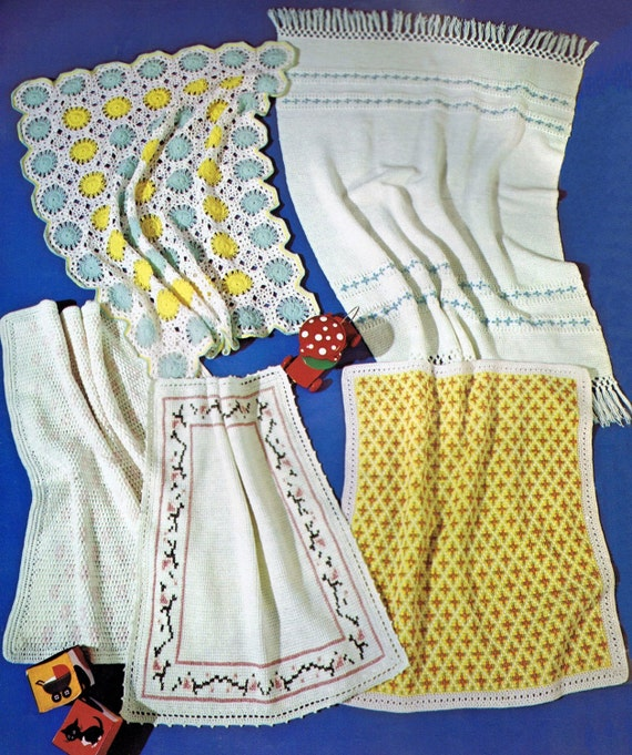 5 Vintage Baby Afghan Carriage Cover Patterns Tunisian Afghan