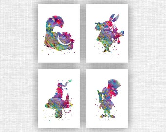 INSTANT DOWNLOAD Disney Alice in Wonderland Art Print Watercolor Silhouette Set of 4, 5x7, Mad Hatter, Cheshire Cat, Absolem, White Rabbit