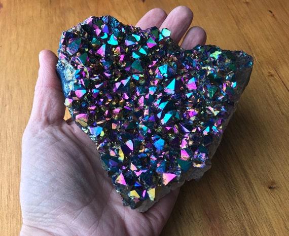 Heart Shaped Titanium Aura Quartz Amethyst Cluster 500g, Rainbow Titanium Aura Quartz Slab, Aura Amethyst Cluster, Aura Quartz Point