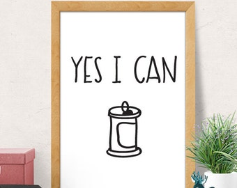 Yes I Can Quote, Motivational Print, Motivational Poster, Motivational Quote, Minimalist Wall Decor, Inspirational Quotes, Modern print