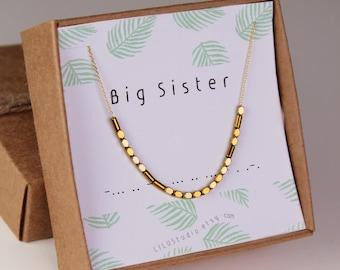 Big sister gift, sister birthday gift, Morse code necklace, sister bracelet, sister necklace, big sister necklace, big little sorority, gift