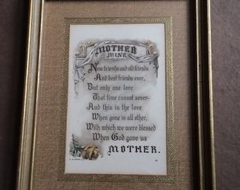 Vintage Framed Print Picture, Mother Mine Print Picture, Vintage Mother's Framed Poem, John Descher Co. NY